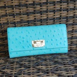 New Kate Spade Wellesly ostrich cyndy wallet